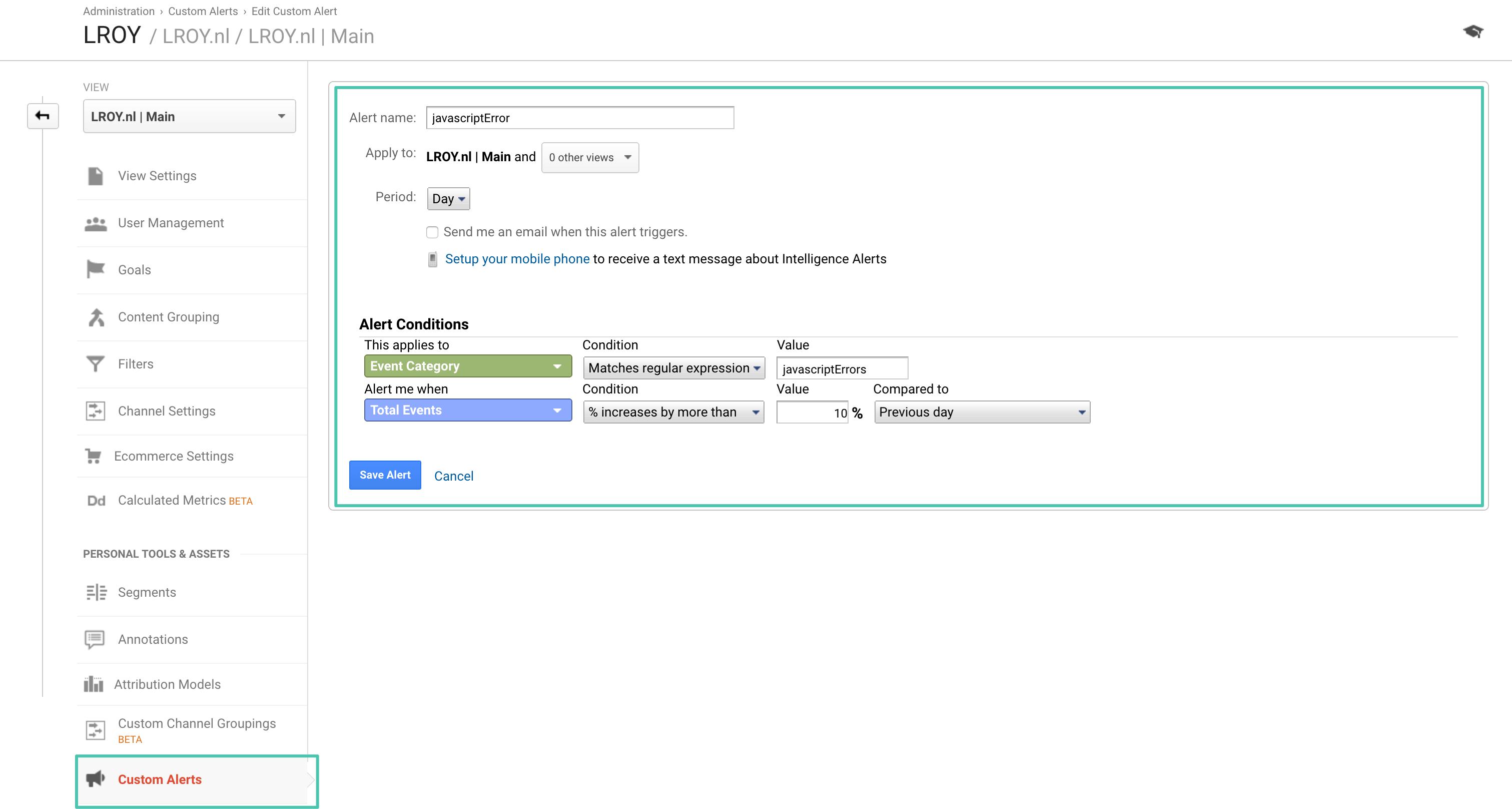 Google Analytics Javascript Alerts