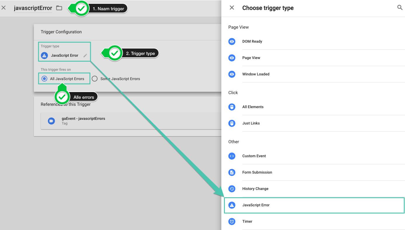 Google Tag Manager Javascript Error Trigger